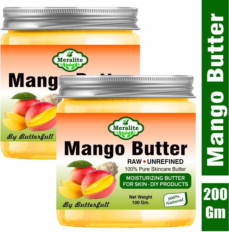 Meralite 100% Pure Mango Butter Unrefined for for Skin and Hair.Body Moisturizer (Pack of 2)(200 g)