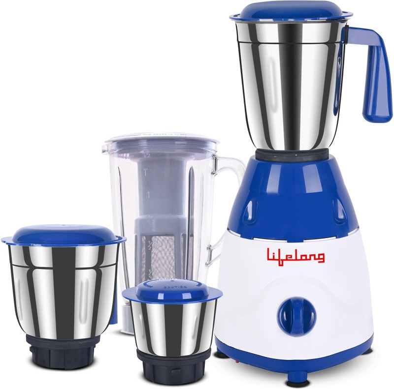 Lifelong Rapid LLMG78 750 W Juicer Mixer Grinder(Blue, 4 Jars)