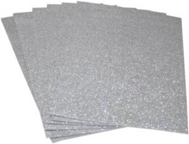 Alvika's Premium Quality A4 Size (297 x 210 mm) Non-Adhesive EVA Glitter Sheet for Arts & Crafts, Scrapbooking, Paper Decorations (Pack of 6 Sets) - Silver Parchment Craft Kit