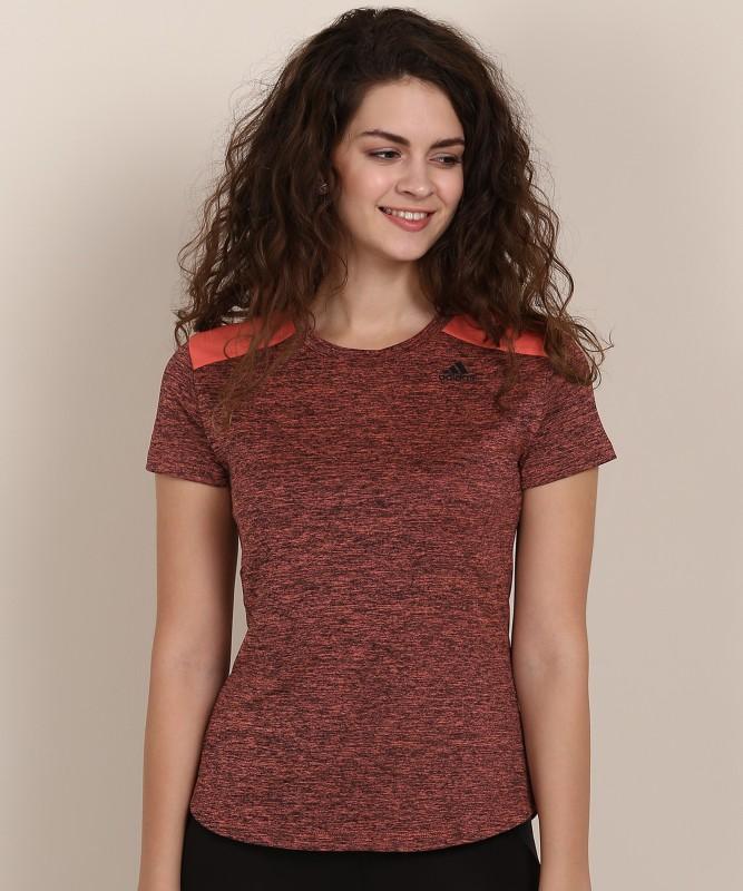 ADIDAS Solid Women Round Neck Black, Orange T-Shirt