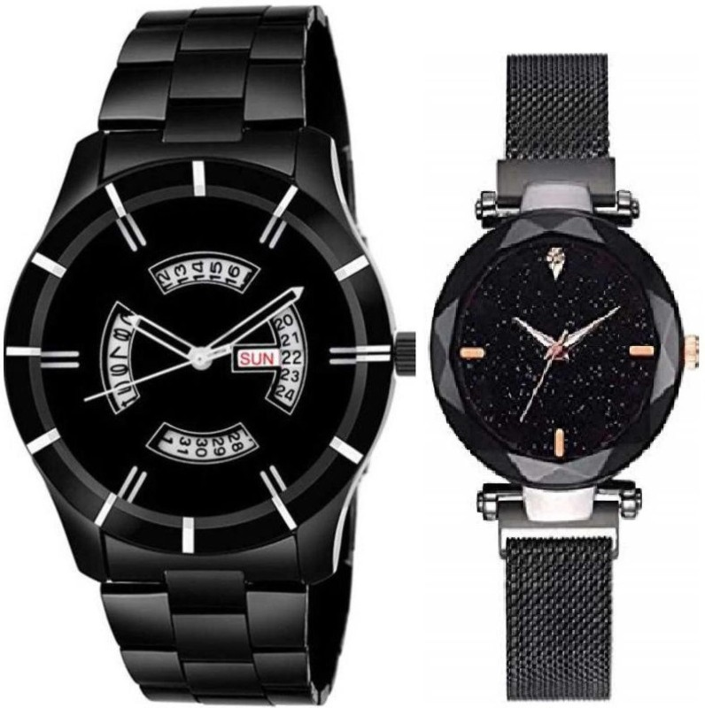 newmen Black chaina metal D&Det & blk megnet .......new ....Staylis ....Analog ....watch....Super .....men &....women.....2020.....Couple....Special....Combo.....Watch Analog Watch - For Couple