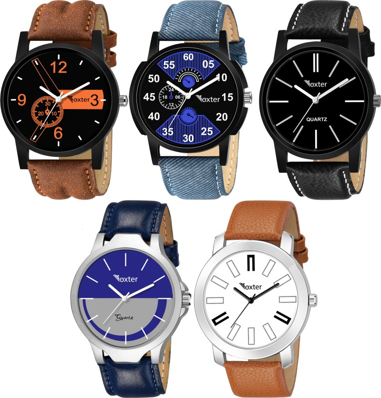 Foxter Combo Of 5 Stylish Attractive Chronograph Pattern Designer Sett Analog Analog Watch - For Men