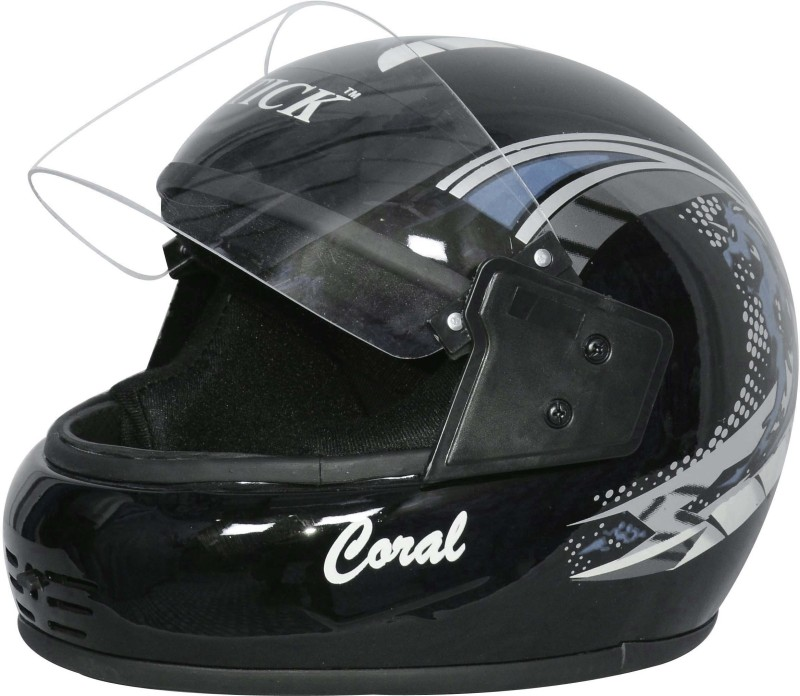 Stick Coral Comforty (ISI Certified) Motorbike Helmet(Black Grey)