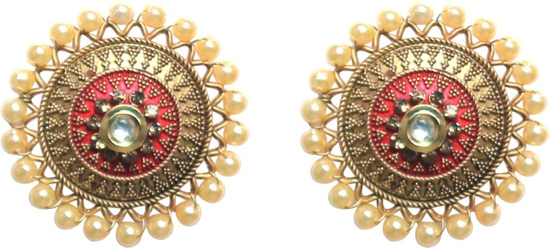 RAJPURE JEWELRY Traditional trendy gold plated meenakari floral stud earring jewellery for womens and girls Metal Stud Earring