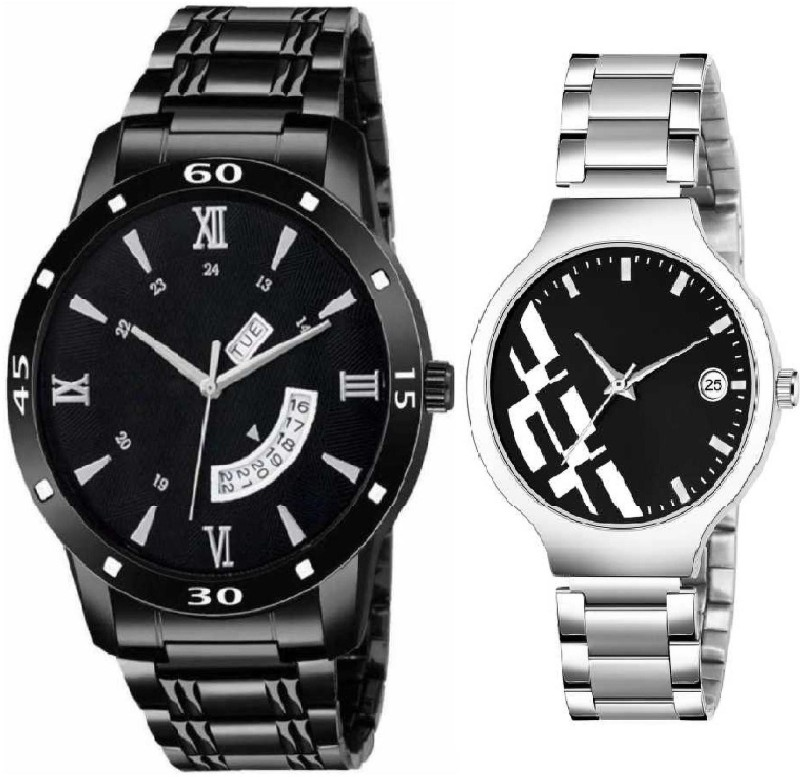 newmen black chaina metal d&Det & black D&Det women Analog Watch - For Couple