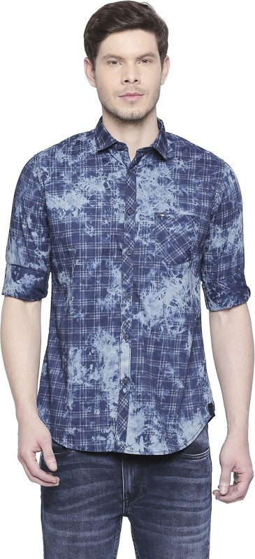 Killer Men Printed Casual Dark Blue Shirt