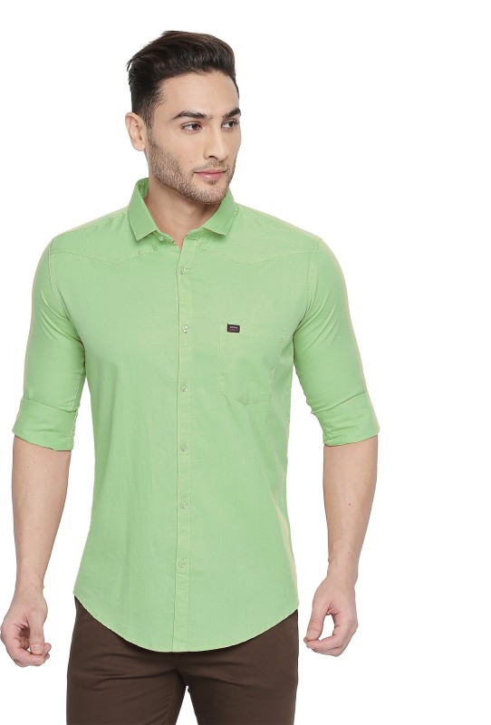 Kevin Swift Men Solid Casual Green Shirt