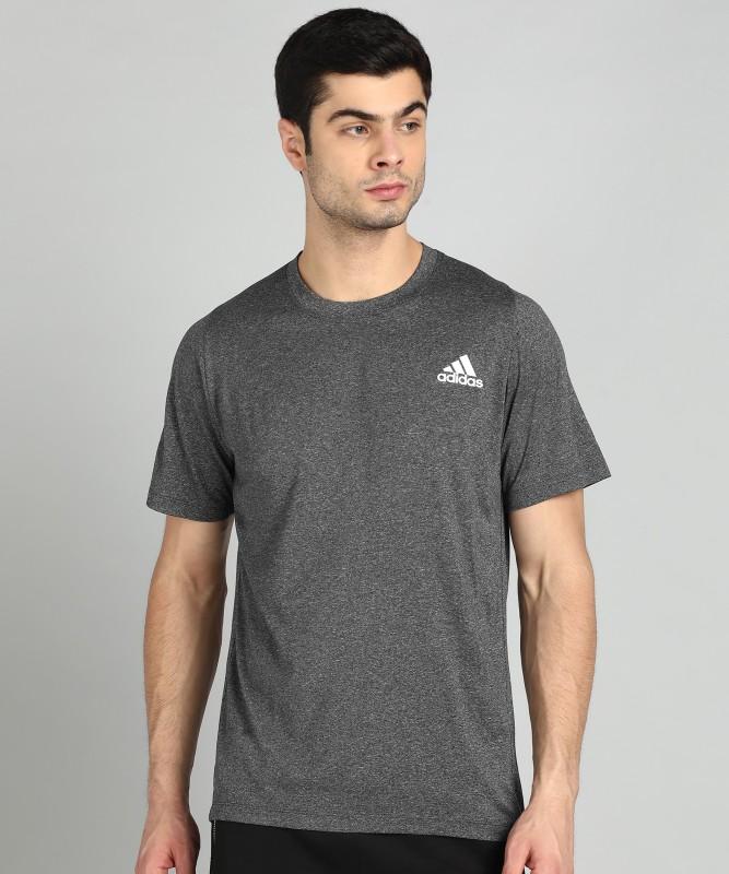 ADIDAS Self Design Men Round Neck Grey T-Shirt