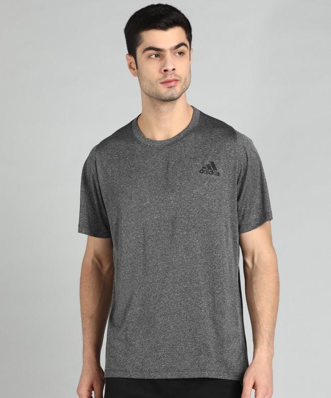 ADIDAS Solid Men Round Neck Grey T-Shirt