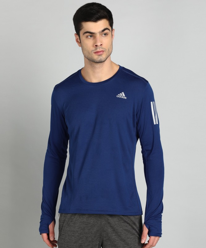 ADIDAS Solid Men Round Neck Blue T-Shirt