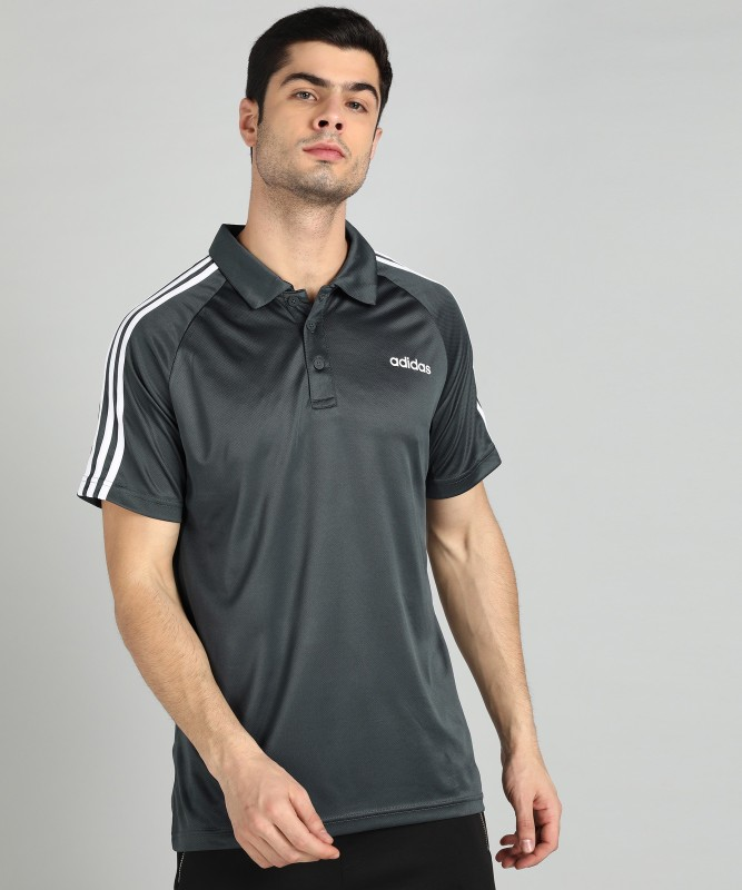 ADIDAS Sports Men Polo Neck Grey T-Shirt
