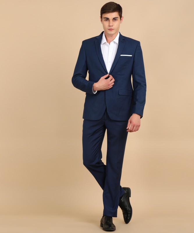 Park Avenue Two Piece Suit Solid Men Suit
