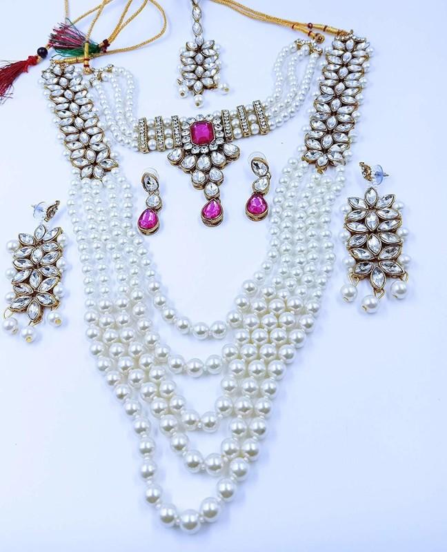 APSARA ART Brass Jewel Set(Pink, White)