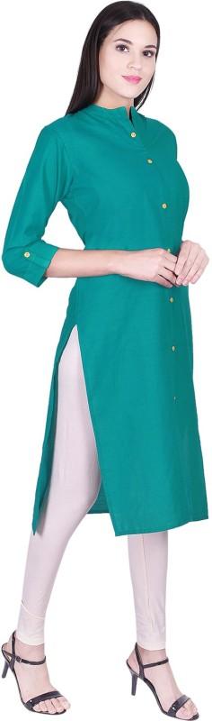 GREYSHADE Casual Solid Women Kurti(Green)