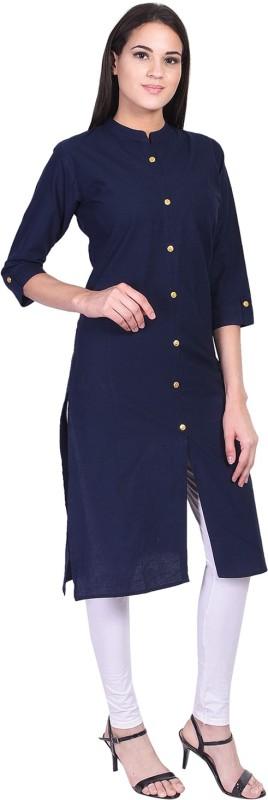 GREYSHADE Casual Solid Women Kurti(Blue)