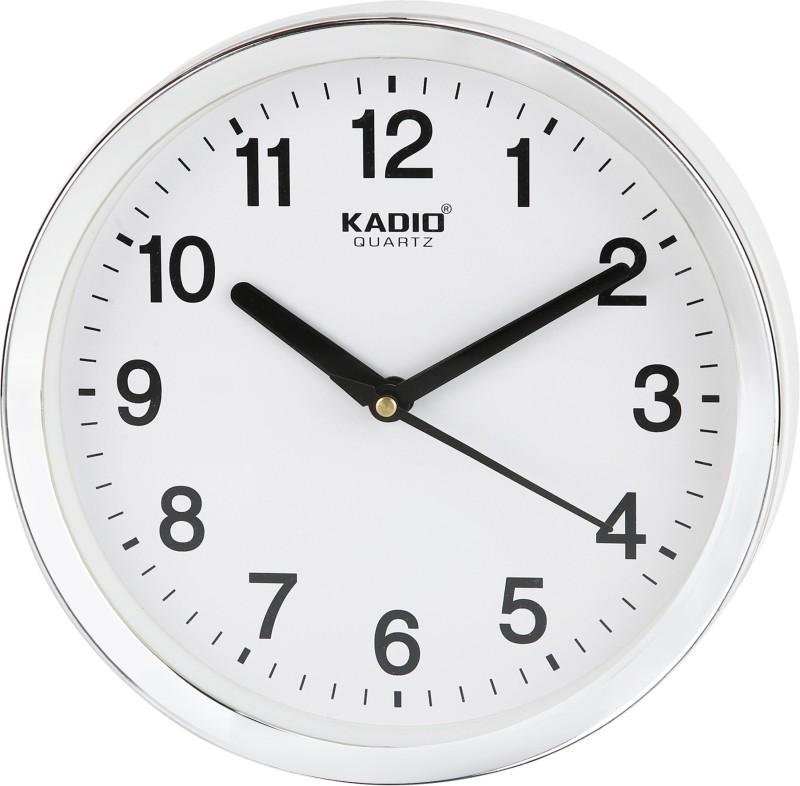 Kadio Analog 20 cm X 20 cm Wall Clock(White, With Glass)