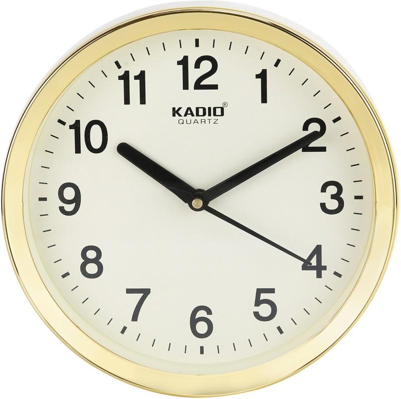 Kadio Analog 20 cm X 20 cm Wall Clock(Beige, With Glass)