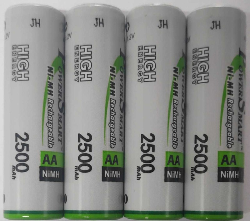 Power Smart PS 2500 mAH x 4 Ready To Use AA Rechargable NiMH Batteries Used For Toys Flash Etc Camera Charger (White) Battery(Pack of 4)