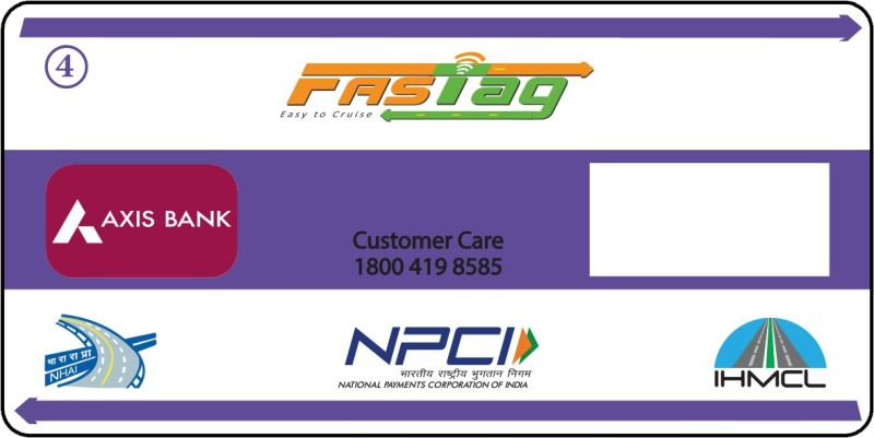Axis Bank Vehicle Class 4 Fastag Sticker for Windshield(Blue)