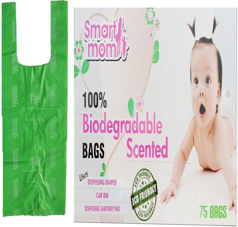 Smartmom 100% Bio Degradable and Eco Friendly- Baby Diaper Disposable/Scented Bags-Dispose Diapers, Sanitary Pads Disposing diaper bag , Car bin bags, Disposing sanitary bag Diaper Disposal Bin(75)