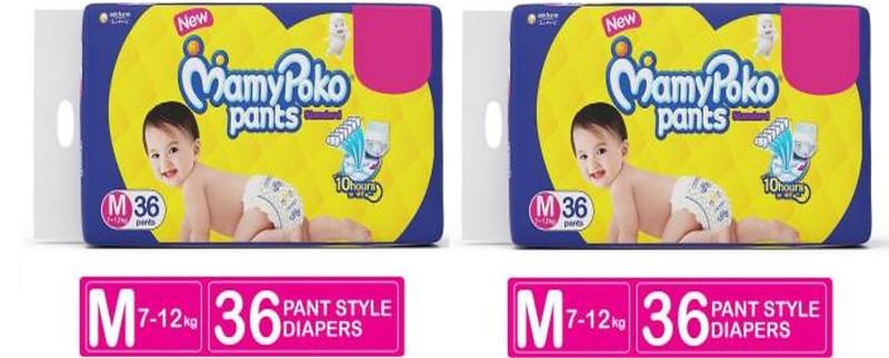 MAMY POKO PANTS Absorb 10 Hrs (7-12 Kg) 36+36 Diaper Pants - M(72 Pieces)