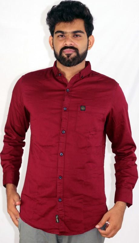 Indi Hemp Men Solid Casual Red Shirt