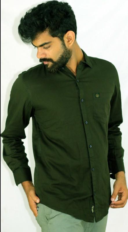 Indi Hemp Men Solid Casual Dark Green Shirt