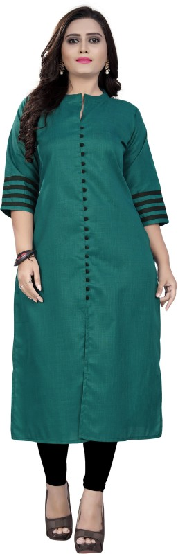 amar tex Casual Solid Women Kurti(Green)