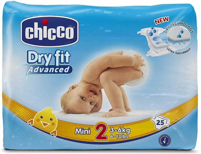 Chicco Dry Fit Adv Mini Diaper, 25 Count Size 2 - S(25 Pieces)