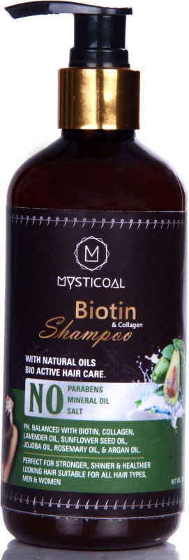Mysticoal Biotin & Collagen Thickening Hair Shampoo for Hair Volume and Hair Loss, Free from Paraben & Mineral Oil for Men and Women (300 ml)(300 ml)