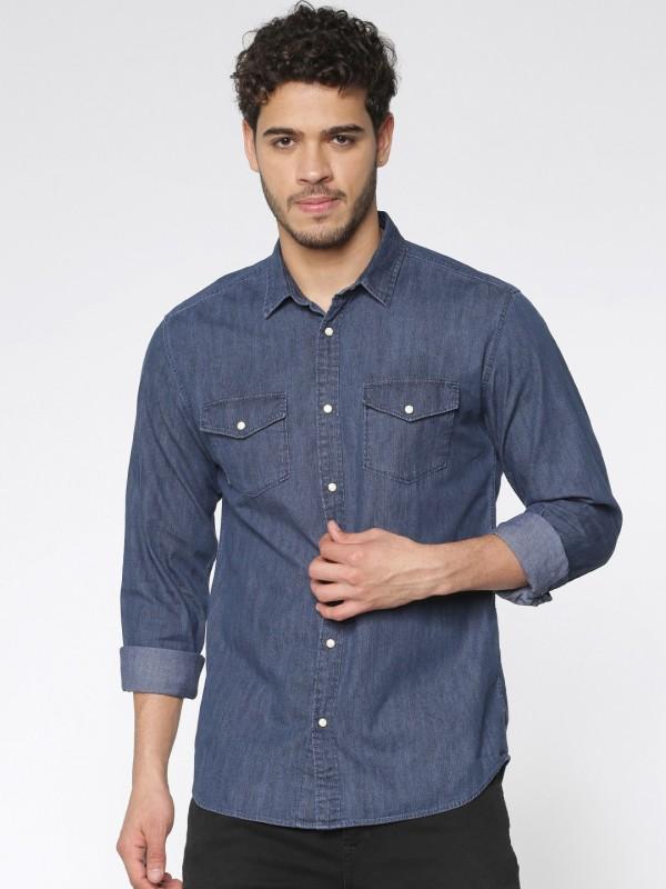 Jack & Jones Men Solid Casual Blue Shirt