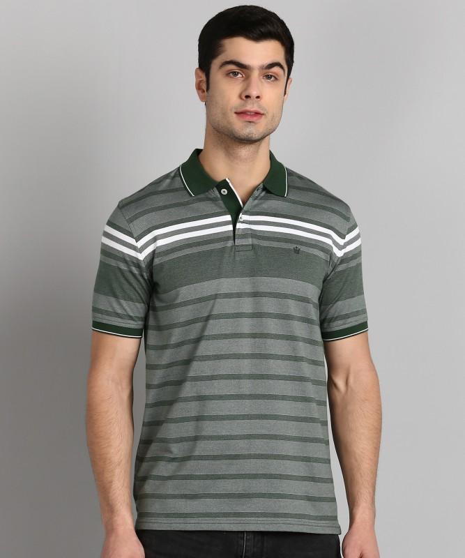 Louis Philippe Striped Men Polo Neck Green T-Shirt