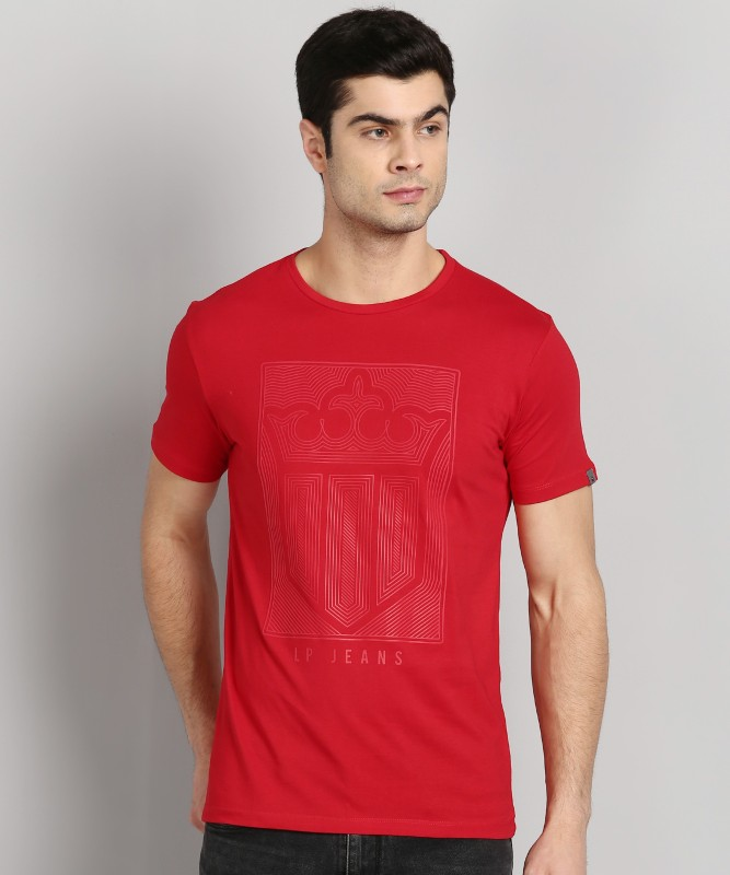 Louis Philippe Jeans Graphic Print Men Round Neck Red T-Shirt