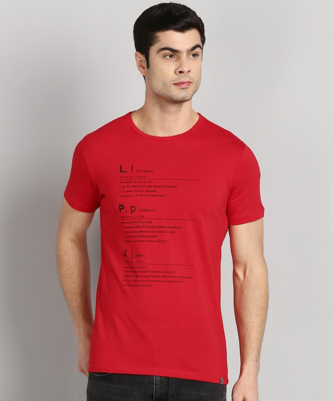 Louis Philippe Jeans Typography Men Round Neck Red T-Shirt