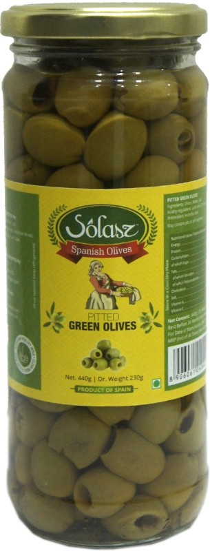 Solasz Spanish Olives Green Pitted Olives & Peppers(440 g)