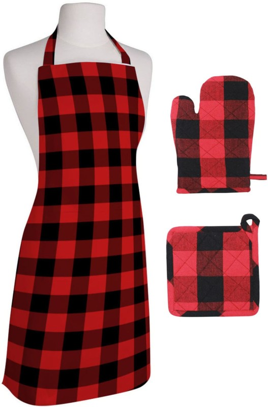 Oasis Red Cotton Kitchen Linen Set(Pack of 3)