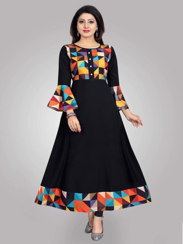 PAVITRA Women Printed Gown Kurta(Black)