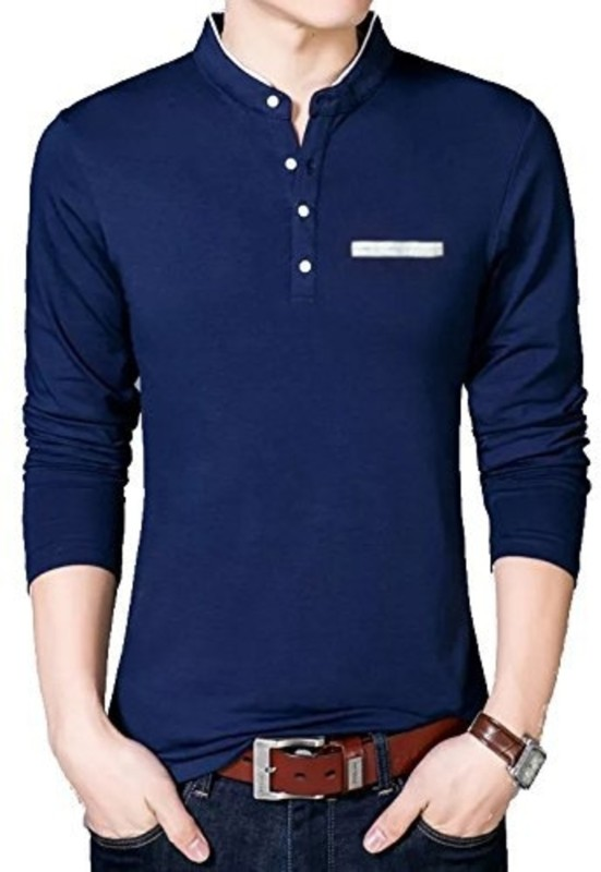 Try This Solid Men Mandarin Collar Dark Blue T-Shirt