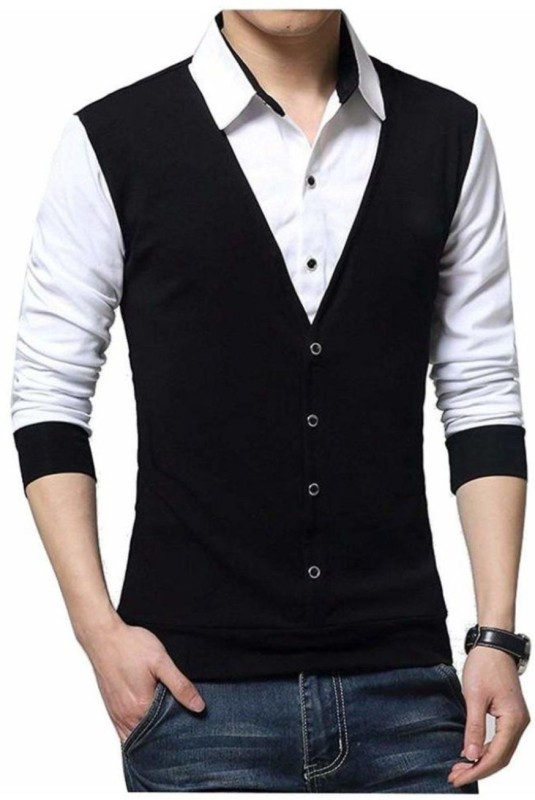 Try This Color block Men Polo Neck Black, White T-Shirt