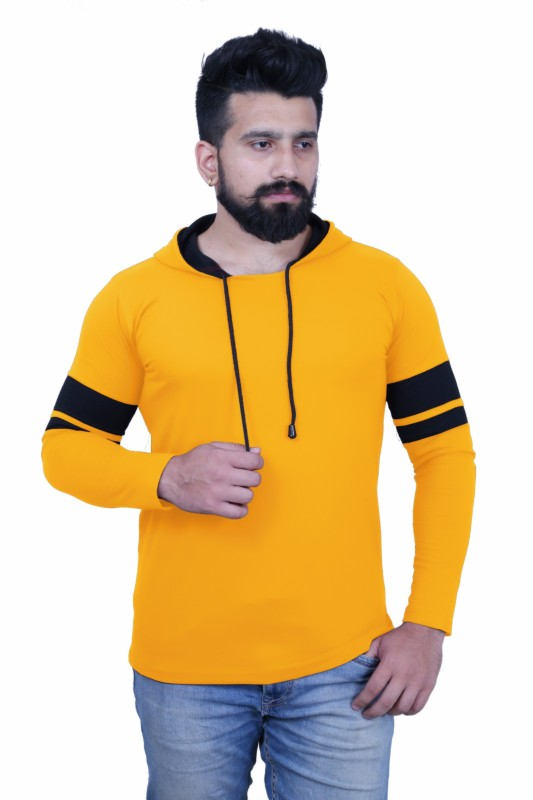 KAY S APPARELS Solid Men Hooded Neck Yellow T-Shirt