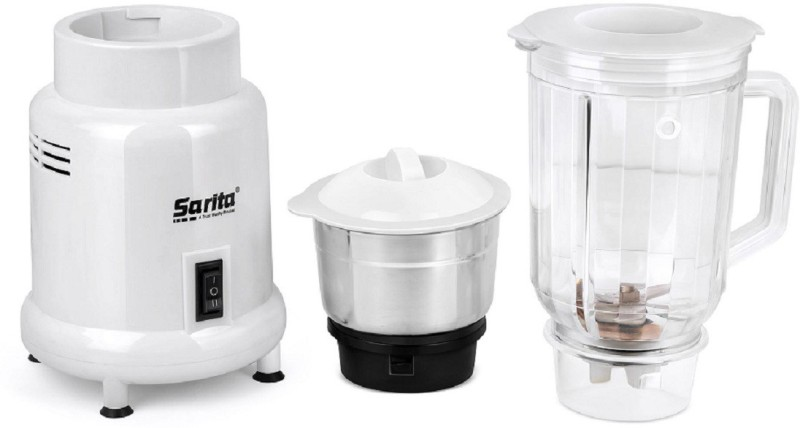 sarita Pro Power Grinding-Blending with Copper winding 400 Juicer Mixer Grinder(White, Black, 2 Jars)