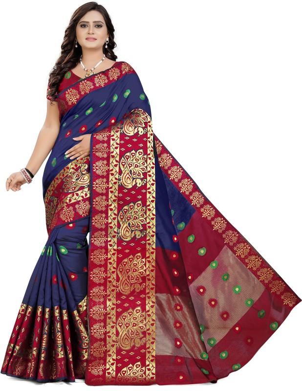 Cartyshop Self Design Banarasi Silk Blend, Cotton Blend, Jacquard, Pure Silk, Cotton Silk Saree(Blue)