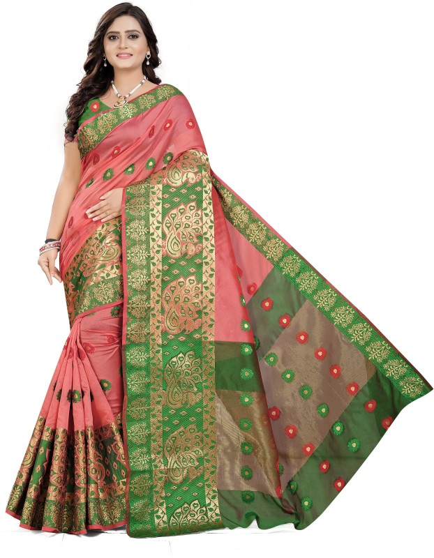 Cartyshop Self Design Banarasi Silk Blend, Cotton Blend, Jacquard, Pure Silk, Cotton Silk Saree(Pink)