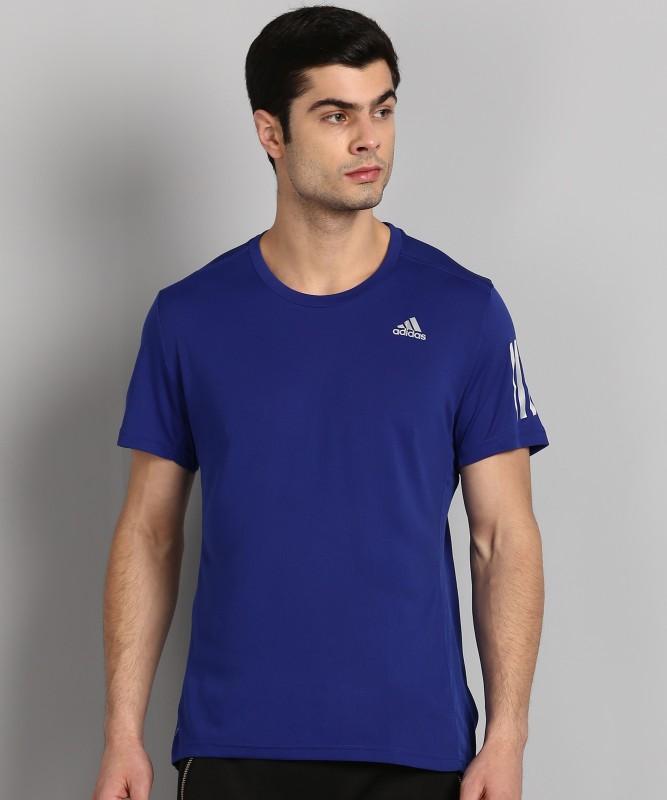ADIDAS Self Design Men Round Neck Blue T-Shirt