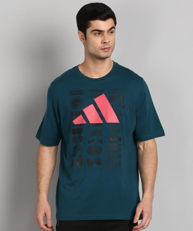ADIDAS Printed Men Round Neck Blue T-Shirt