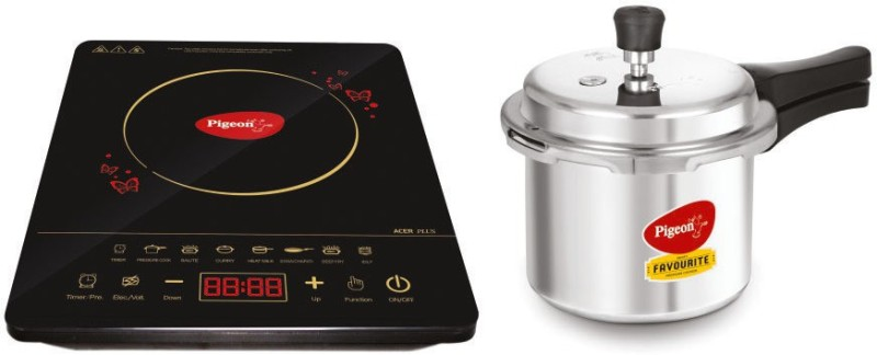 Pigeon Acer Plus Induction Cooktop (Black, Touch) with IB 3 Ltr Pressure Cooker 2020 Combo