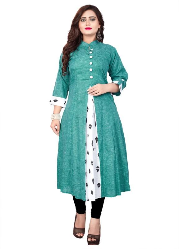 amar tex Casual Printed Women Kurti(Green, White)