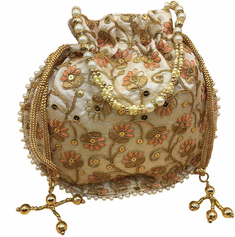 Raghba Women's Embroidered Satin Silk Golden Potli Bag Pearl Handle with Drawstring Closure and Tassels Potli(Gold)