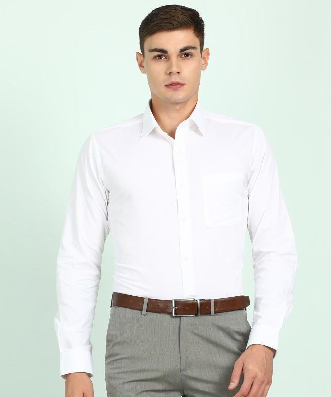 Raymond Men Self Design Formal White Shirt