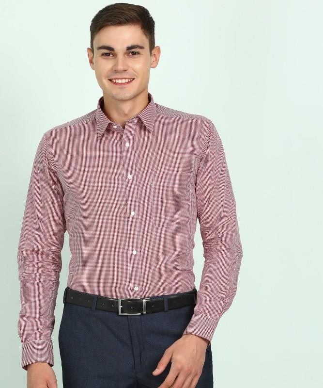 Raymond Men Checkered Formal White, Maroon Shirt